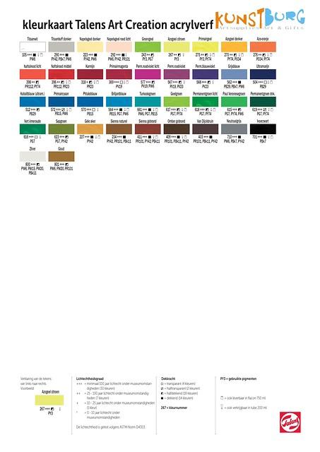 Kleurenkaart van Art Creation Acrylverf. Te koop bij Kunstburg in Doesburg. Kunstburg, kunstenaars in materialen.
