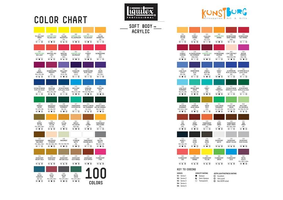 Kleurenkaart van Liquitex Soft Body Acrylic / Acrylverf. Te koop bij Kunstburg.nl