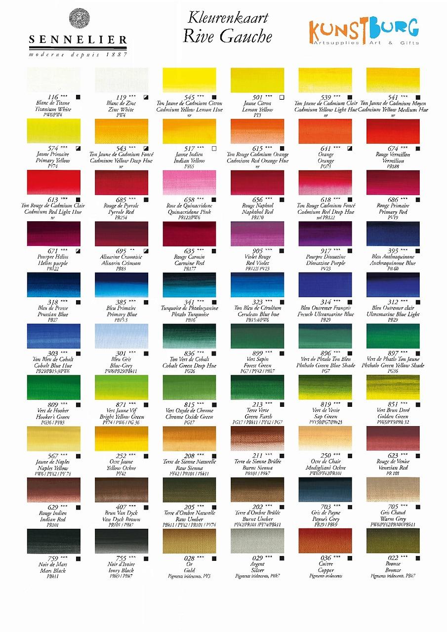 Kleurenkaart Sennelier Rive Gauche Olieverf. Te koop bij Kunstburg.nl